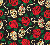 Naadloos met rozen en schedels Royalty-vrije Stock Fotografie