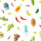 Naadloos Mexicaans symbolenpatroon Stock Fotografie