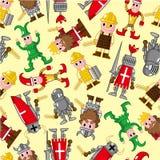 Naadloos middeleeuws mensenpatroon Royalty-vrije Stock Afbeeldingen
