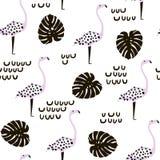 Naadloos modern patroon met flamingo en palmtextuur van de tak de Creatieve manier Klaar ontwerp voor stof, textiel stock illustratie