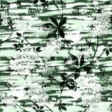 Naadloos modieus abstract bloemenpatroon Witte en groene achtergrond stock afbeelding