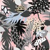 Naadloos mooi artistiek helder tropisch patroon met banaan, van Syngonium en Dracaena-blad, de pret van het de zomerstrand vector illustratie