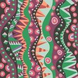 Naadloos Motief met Verticale Stammen Inheemse Patroon Uitstekende Kleuren Stock Afbeelding