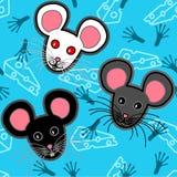 Naadloos muizenpatroon over blauw stock illustratie