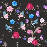 Naadloos muzikaal magisch patroon De gevleugelde feeën in ballettutu's en elf dansen met mooie tuinbloemen, g-sleutel en lier royalty-vrije illustratie