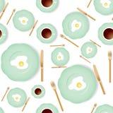 Naadloos ontbijtpatroon Royalty-vrije Stock Afbeelding