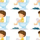 Naadloos ontwerp als achtergrond met jongen die toilet gebruiken Stock Foto