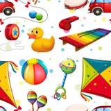 Naadloos ontwerp met veel speelgoed Royalty-vrije Stock Afbeeldingen