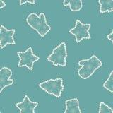 Naadloos openwork blauw patroon van Kerstmisboom, ster, vuisthandschoen Stock Afbeelding