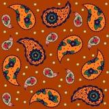 Naadloos oranje bruin patroon, traditionele Aziaat Royalty-vrije Stock Afbeeldingen