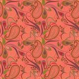 Naadloos oranje patroon met Paisley en wervelingen Vector af:drukken Stock Afbeeldingen