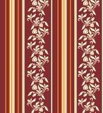 Naadloos ornament met verticale strepen en bloemenpatroon in warme kleuren royalty-vrije illustratie