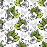 Naadloos Overladen Bloemenpatroon met Vlinders Royalty-vrije Stock Afbeelding