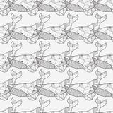 Naadloos overzees patroon met hand getrokken walvissen stock illustratie