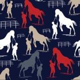 Naadloos Paardpatroon op blauwe marine vector illustratie