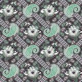 Naadloos Paisley met geometrisch patroon stock illustratie