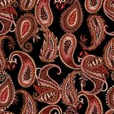 Naadloos Paisley patroon Kleurrijk bloemenornament Oosterse ontwerph rode pijl stock illustratie