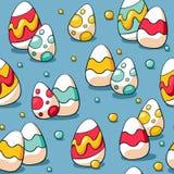 Naadloos Pasen-patroon met kleurrijke eieren op blauwe achtergrond Paaseierenachtergrond voor verpakkend document en stof royalty-vrije illustratie