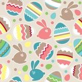 Naadloos Pasen patroon met konijnen Stock Afbeelding