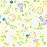 Naadloos Pasen-wildflowerspatroon, vlinders, konijn met ei, nesten Vector illustratie Stock Fotografie