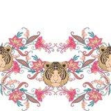 Naadloos patroon, achtergrond met uitstekende stijlbloemen en tige Stock Foto's