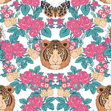 Naadloos patroon, achtergrond met uitstekende stijlbloemen en tige Royalty-vrije Stock Fotografie