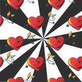 Naadloos patroon als achtergrond met een doel van rode doordrongen harten Royalty-vrije Stock Fotografie