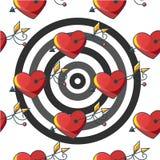 Naadloos patroon als achtergrond met een doel van rode doordrongen harten Stock Afbeeldingen