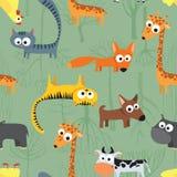 Naadloos patroon als achtergrond met landbouwbedrijfdieren Stock Afbeeldingen