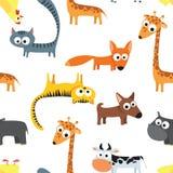 Naadloos patroon als achtergrond met landbouwbedrijfdieren in de kar van kinderen Stock Foto