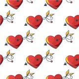 Naadloos patroon als achtergrond met mooie rode langs doordrongen harten Stock Foto's