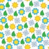 Naadloos patroon als achtergrond met seizoensymbolen Royalty-vrije Illustratie