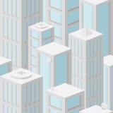 Naadloos patroon als achtergrond met wolkenkrabbers Stock Afbeelding