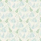 Naadloos patroon als achtergrond van bladeren en takkenbladeren in pastelkleuren van groen en blauw op een beige achtergrond Abst royalty-vrije illustratie