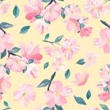 Naadloos patroon als achtergrond van roze Sakura-bloesem of Japanse bloeiende kers symbolisch van de Lente geschikt voor textiel, stock illustratie