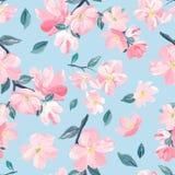 Naadloos patroon als achtergrond van roze Sakura-bloesem of Japanse bloeiende kers symbolisch van de Lente geschikt voor textiel, royalty-vrije illustratie