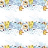 Naadloos patroon als achtergrond van voorwerpen geschilderde waterverfkantoorbenodigdheden Stock Foto