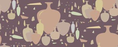 Naadloos patroon amfora en ceramische schepen royalty-vrije stock afbeeldingen