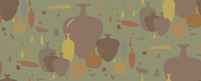 Naadloos patroon amfora en ceramische schepen Stock Afbeeldingen