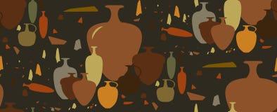 Naadloos patroon amfora en ceramische schepen Stock Foto