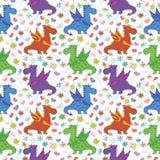 Naadloos patroon, beeldverhaal kleurrijke Draken Stock Afbeeldingen