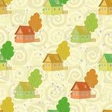 Naadloos patroon, beeldverhaalhuizen en bomen Stock Foto's