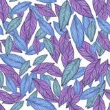 Naadloos patroon Blauwe Bladillustratie royalty-vrije stock foto