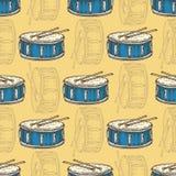 Naadloos patroon Blauwe trommel met trommelstokken stock illustratie