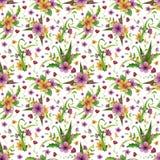 Naadloos patroon Bloemen met bladeren, vlinder royalty-vrije illustratie