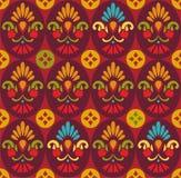 Naadloos patroon, bloemen in rode ovalen, Stock Afbeelding