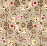 Naadloos patroon - bruine bloemen Stock Fotografie