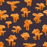 Naadloos patroon Cantharelpaddestoelen op een blauwe achtergrond Bos paddestoelen stock illustratie