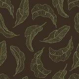 Naadloos patroon De banaan verlaat zwarte Achtergrond Stock Afbeelding