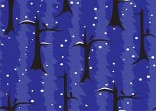 Naadloos patroon De bosbomen van de nachtwinter onder de sneeuw stock fotografie